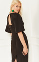 Black Fitted Dress With Flared Sleeves and Cut Out Back Detail by Lilah Rose