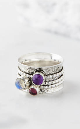 Mystical Yin Silver Gemstone Spinning Ring by Charlotte's Web