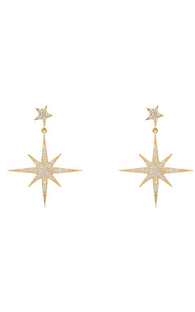 Petite Star Burst Drop Earring Gold by Latelita Product photo