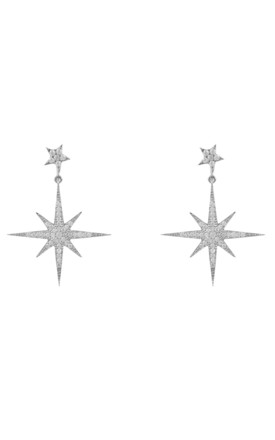 Petite Star Burst Silver Drop Earrings by Latelita Product photo