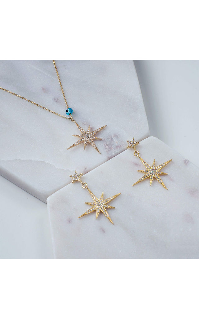 Star burst Drop Earring Gold by Latelita