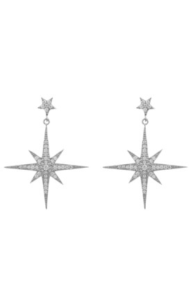 Star Burst Drop Earring Silver by Latelita Product photo