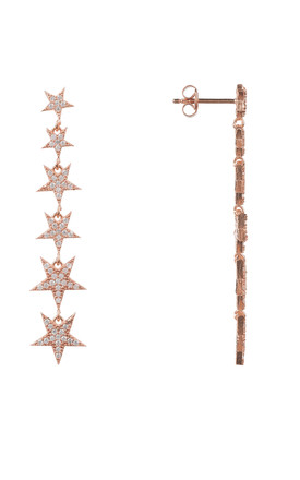 Graduated Star Drop Earring Rosegold by Latelita London