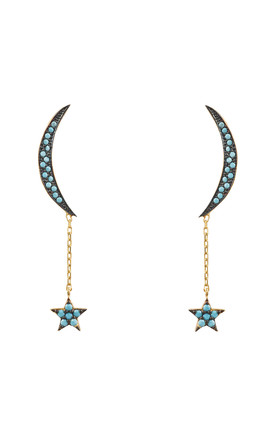 Moon And Star Earring Gold Turquoise by Latelita Product photo