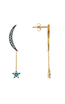 Moon and Star Earring Gold Turquoise by Latelita London