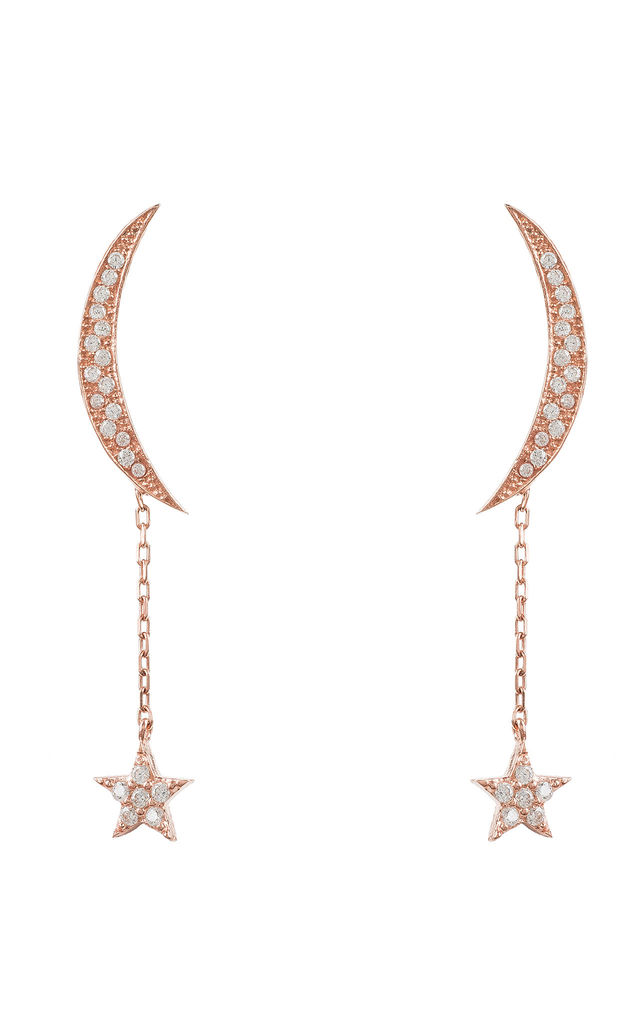 Moon and Star Earring Rosegold White CZ by Latelita London