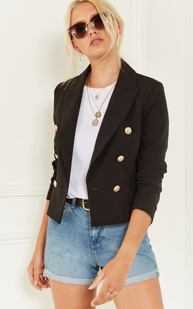 Black Gold Button Blazer by Bella and Blue