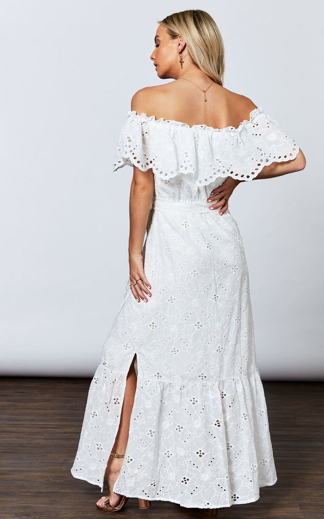 WHITE FLORAL LACE OFF THE SHOULDER MAXI by If By Sea