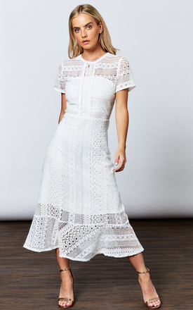 White Linear Lace Short Sleeve Midi by If By Sea Product photo