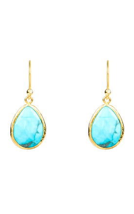 Petite Drop Earring Gold Turquoise by Latelita Product photo