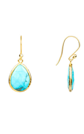 Petite Drop Earring Gold Turquoise by Latelita London
