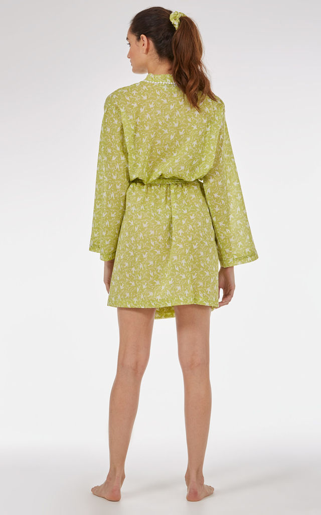 Yellow Swallows Short Kimono by Caro London