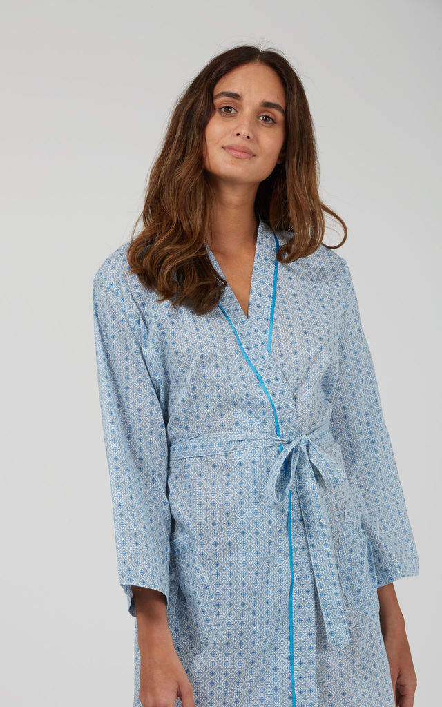 Blue Mini Tile Short Kimono by Caro London