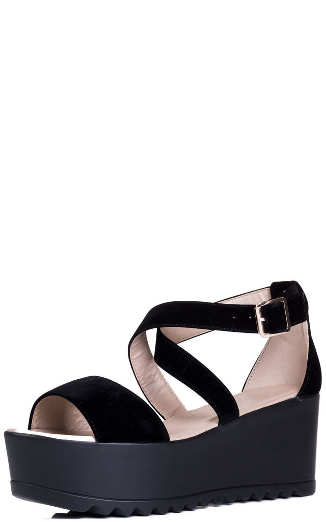 KOMODA Adjustable Buckle Wedge Heel Flatform Sandals Shoes - Black Suede Style by SpyLoveBuy