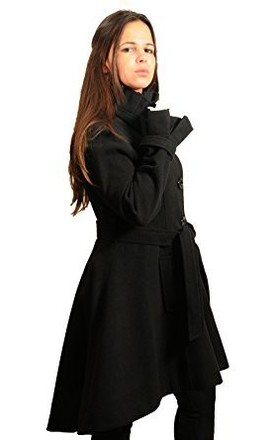 Carolina Black Ruffle Fit & Flare Belted Coat by De La Creme Fashions
