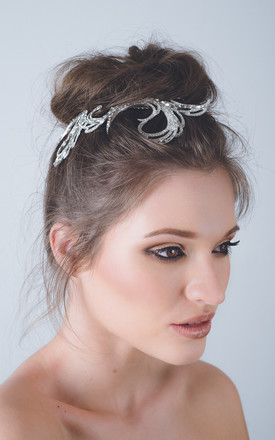 Art Deco Gatsby bridal crystal swirl hair comb by Kate Coleman
