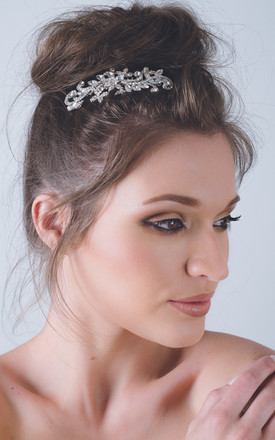 Silver leaf swirl bridal hair comb by Kate Coleman