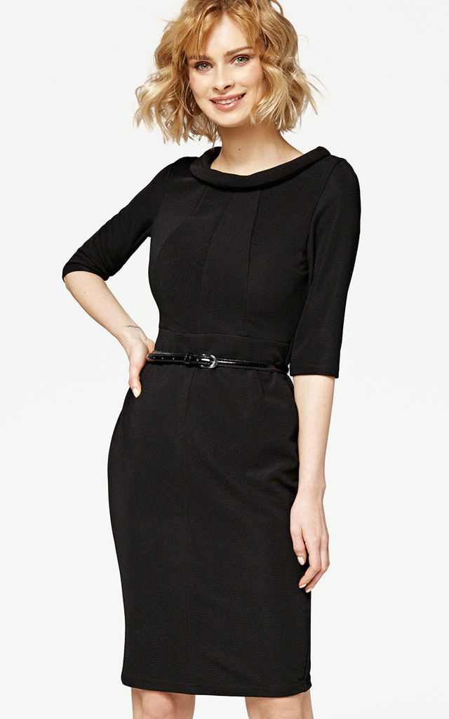 'Angelina' Black 1950's Vintage Inspired Pencil Wiggle Dress by Misfit London
