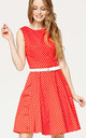 'Audrey' Red Polka Dot 1950's Vintage Inspired Swing Skater Dress by Misfit London