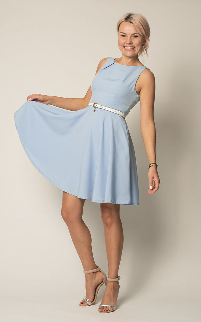 Elsa Pastel Blue 1950 S Inspired Flared Skater Dress