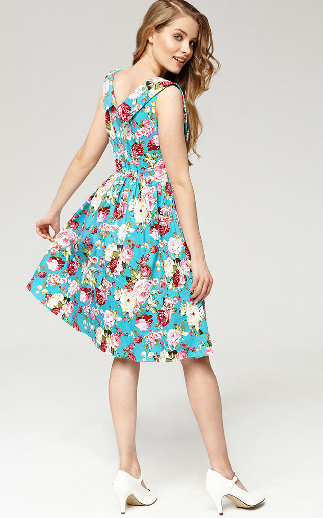 'Matilda' Turquoise Floral 1950's Vintage Inspired Swing Dress by Misfit London