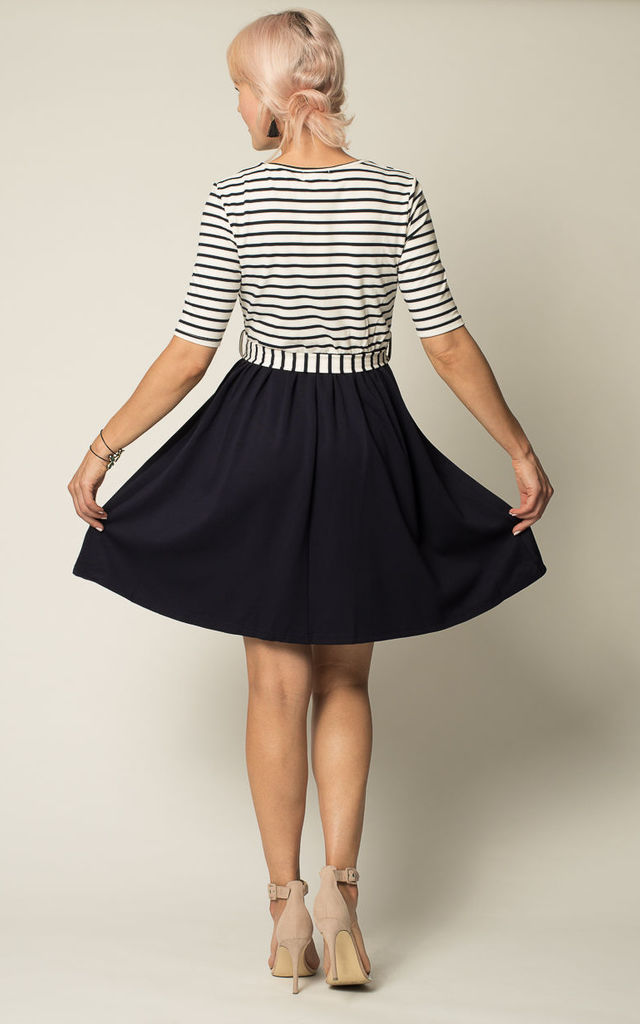 'Sarah' Navy Blue Nautical Striped British Flared Dress by Misfit London
