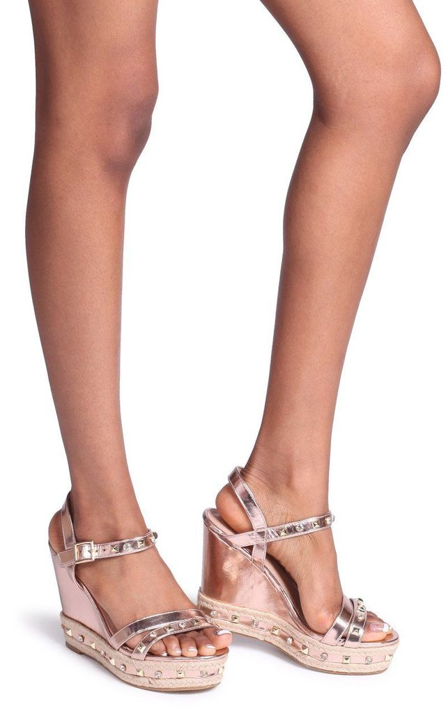 Carmen Rose Gold Wedge With Mixed Studded & Diamante Detail With Rope Trim by Linzi
