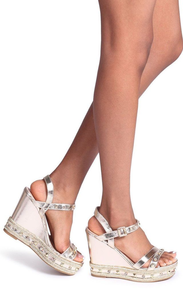 820f099627b Carmen Gold Wedge With Mixed Studded & Diamante Detail With Rope Trim By  Linzi