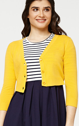'Penny' Honey Yellow Cropped 1950's Vintage Inspired Cardigan by Misfit London