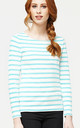 'Sophie' British White & Duck Egg Blue Nautical Stripe Top by Misfit London