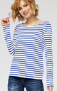 'Sophie' British White & Blue Nautical Stripe Long Sleeve Top by Misfit London