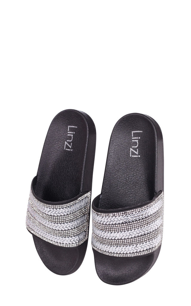 Garbo Black Slip On Slider With Diamante Embellished Front Strap by Linzi