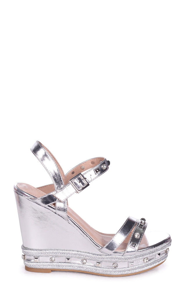 Carmen Silver Wedge With Mixed Studded & Diamante Detail With Rope Trim by Linzi