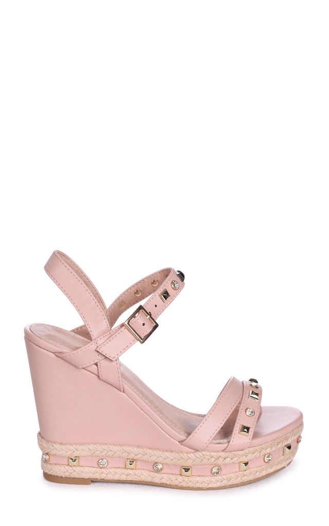 Carmen Nude Nappa Wedge With Mixed Studded & Diamante Detail With Rope Trim by Linzi