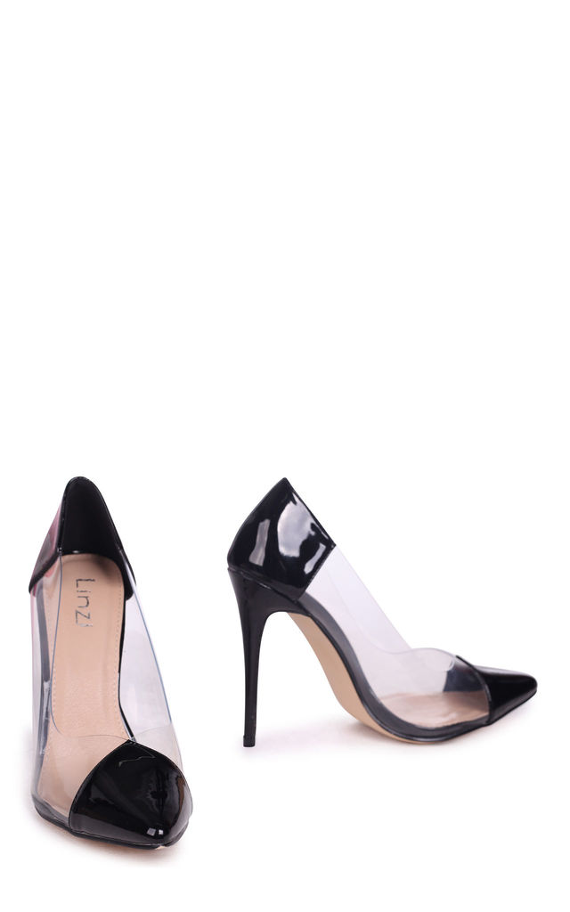 Kylie Black Patent Faux Patent Leather Perspex Heel by Linzi