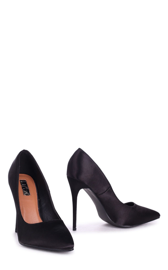 Aston Black Satin Classic Pointed Court Heel by Linzi