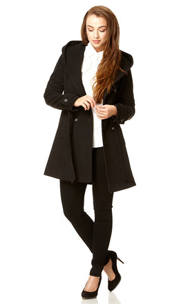 Samantha Black Oversized Hooded Coat by De La Creme Fashions Product photo