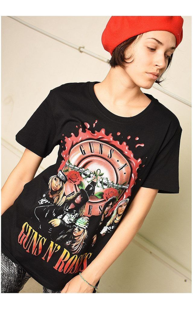 Black festival Guns N' Roses rock band t-shirt top tee by Lover