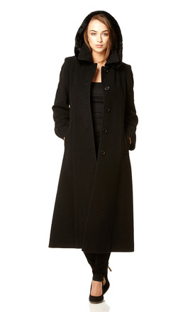 Chantelle Black Faux Fur Trim Hooded Long Coat by De La Creme Fashions Product photo