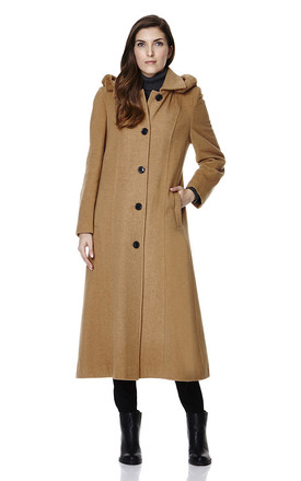 Chantelle Camel Faux Fur Trim Hooded Long Coat by De La Creme Fashions