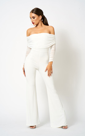 White Ruched Mesh Bardot Jumpsuit by Club L London