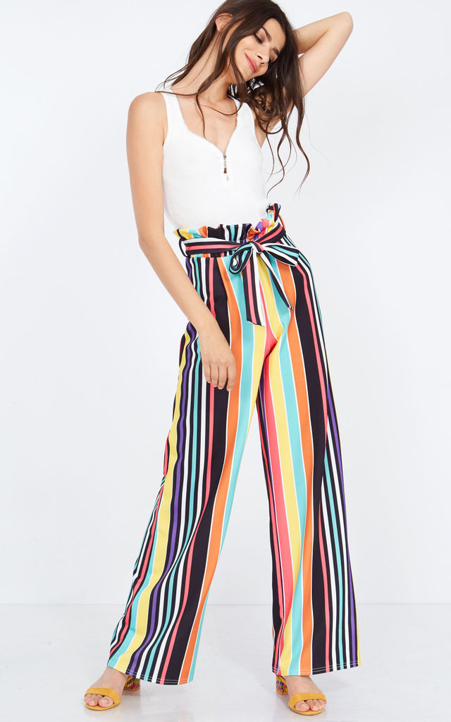LANIE – Multicolour Striped Paperbag Trousers by Blue Vanilla