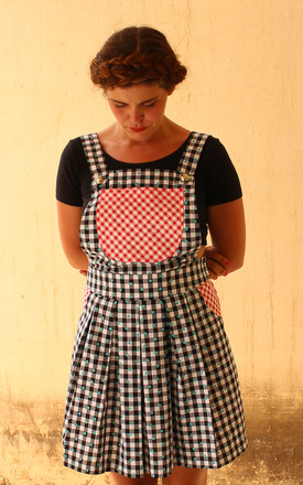 Sophie Gingham Heart Print Cotton Pinafore Dress with Red Gingham Pockets by Krissyfied Boutique
