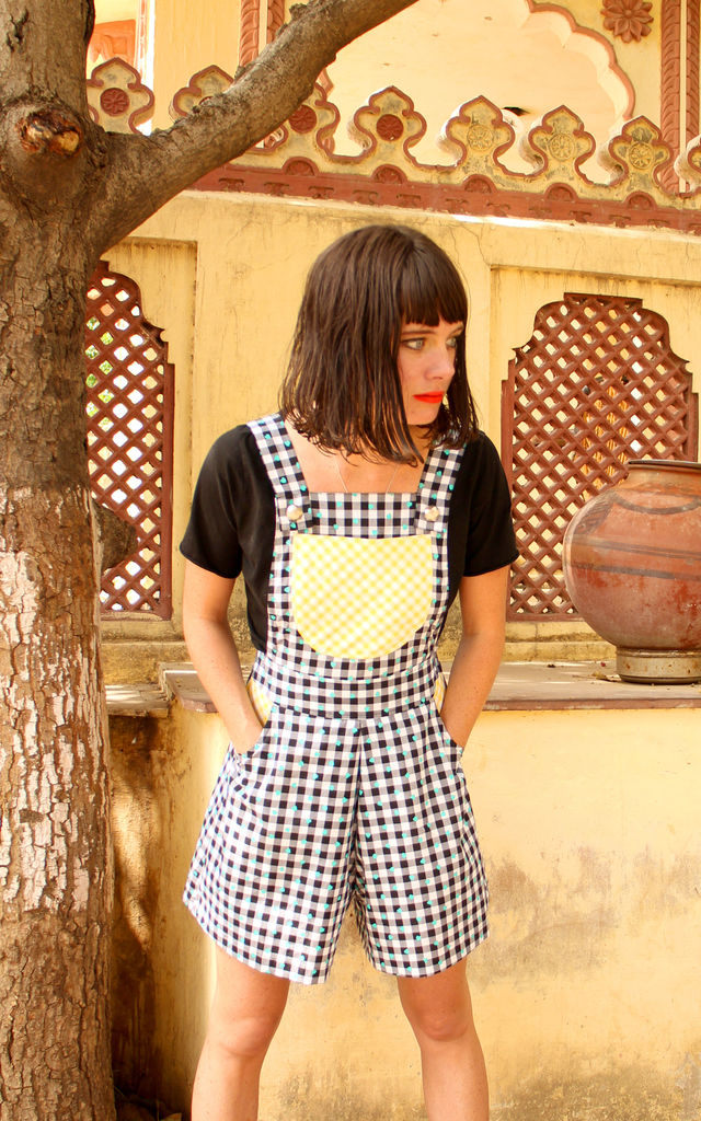 Sophia Gingham Heart Print Cotton Culotte Playsuit with Yellow Gingham Pockets by Krissyfied Boutique