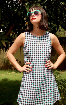 Alexa Black And White Gingham With Turquoise Hearts Printed Cotton Shift Dress by Krissyfied Boutique Product photo