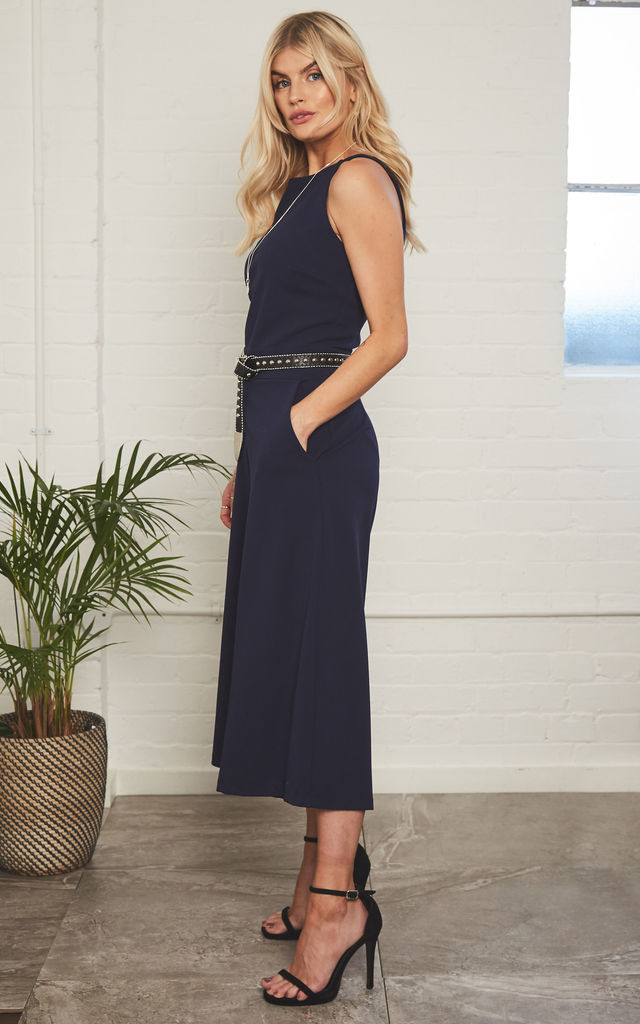 Elizabeth Navy Culotte Jumpsuit by Never Fully Dressed
