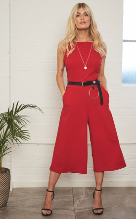Elizabeth Red Culotte Jumpsuit by Never Fully Dressed Product photo