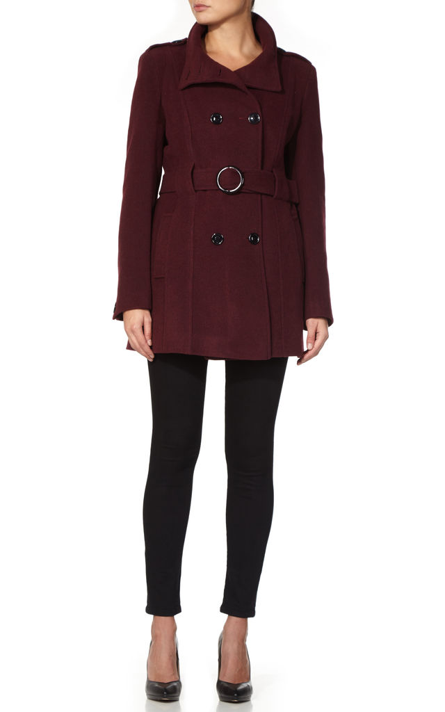 Hannah Wine Military Style Belted Coat by De La Creme Fashions
