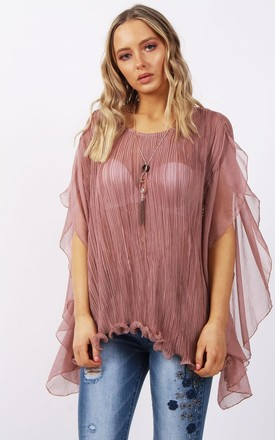 Pink Pleated Stretch Floaty Chiffon Waterfall Ruffle Sleeve Top by Urban Mist