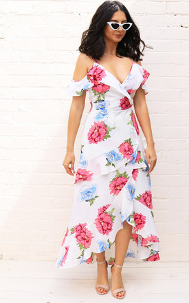 Strappy Cold Shoulder Layered Frill Wrap Maxi Dress With Floral Print In Cream, Pink & Blue by One Nation Clothing Product photo